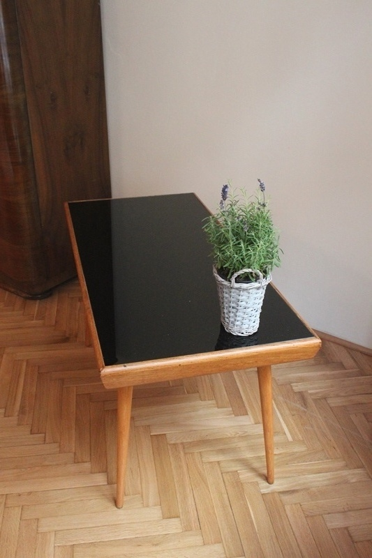 black glass table, 60´s